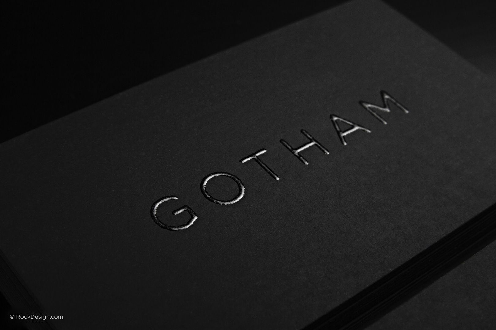 Minimalistic black suede feeling business card with thermography ...