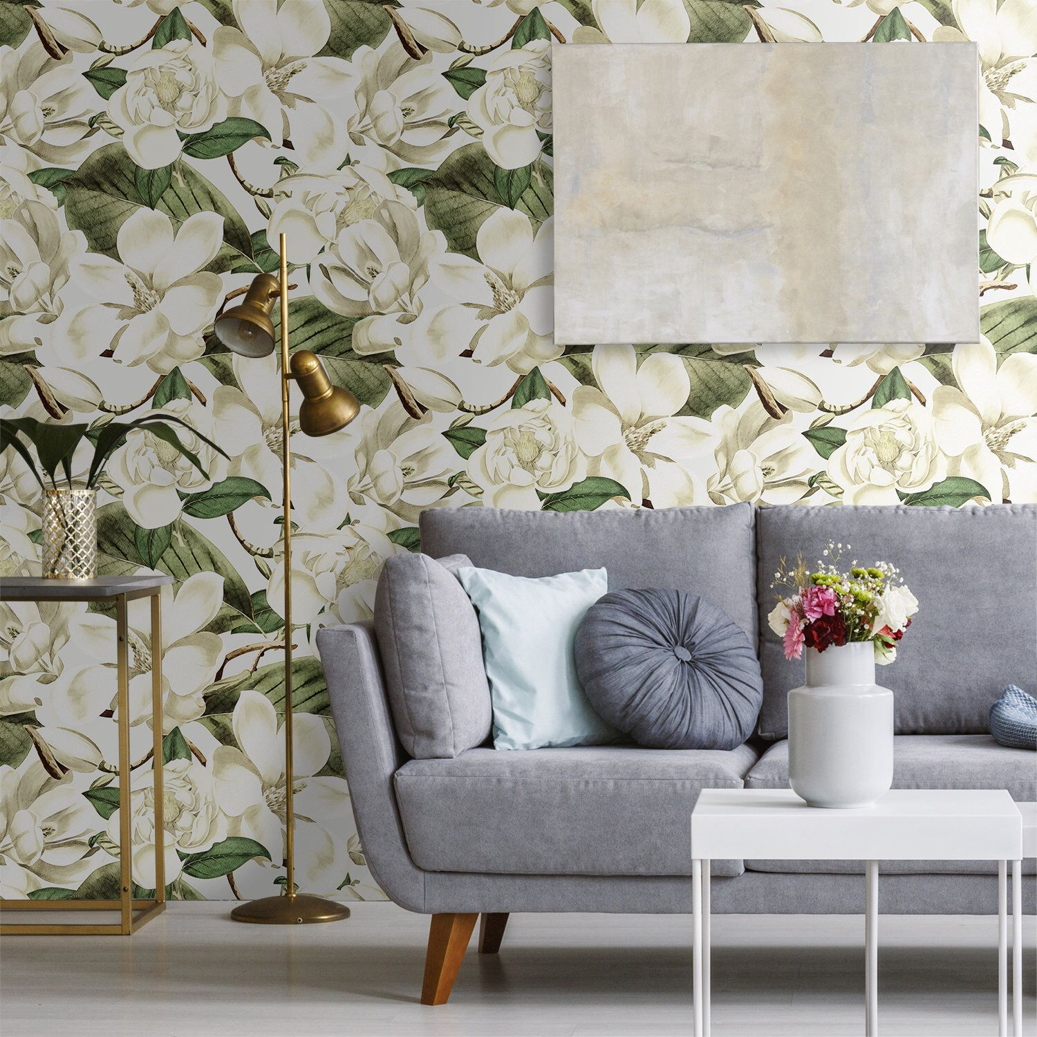 Watercolor Large Floral Removable Wallpaper, Peel and