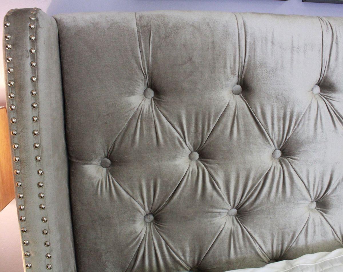 Bedroom Elegant Chantal Silver Grey Velvet Studded Winged