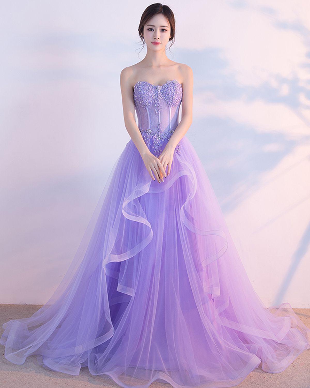 0773a85908b Strapless lavender tulle long fishbone senior prom dresses