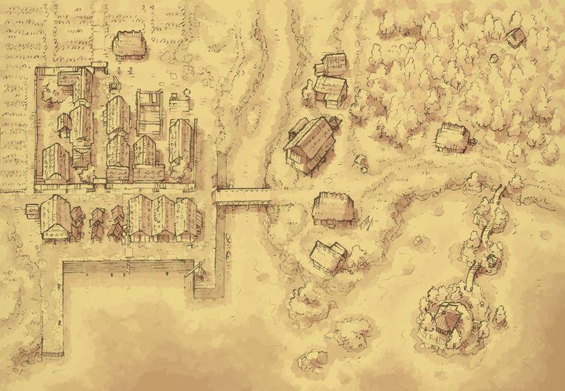 The Coastal Town (Parchment) | ART - Fantasy - MAPS - CITY ...