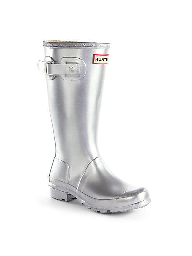 Hunter Toddler's & Kid's Original Tall Rain Boots Silver