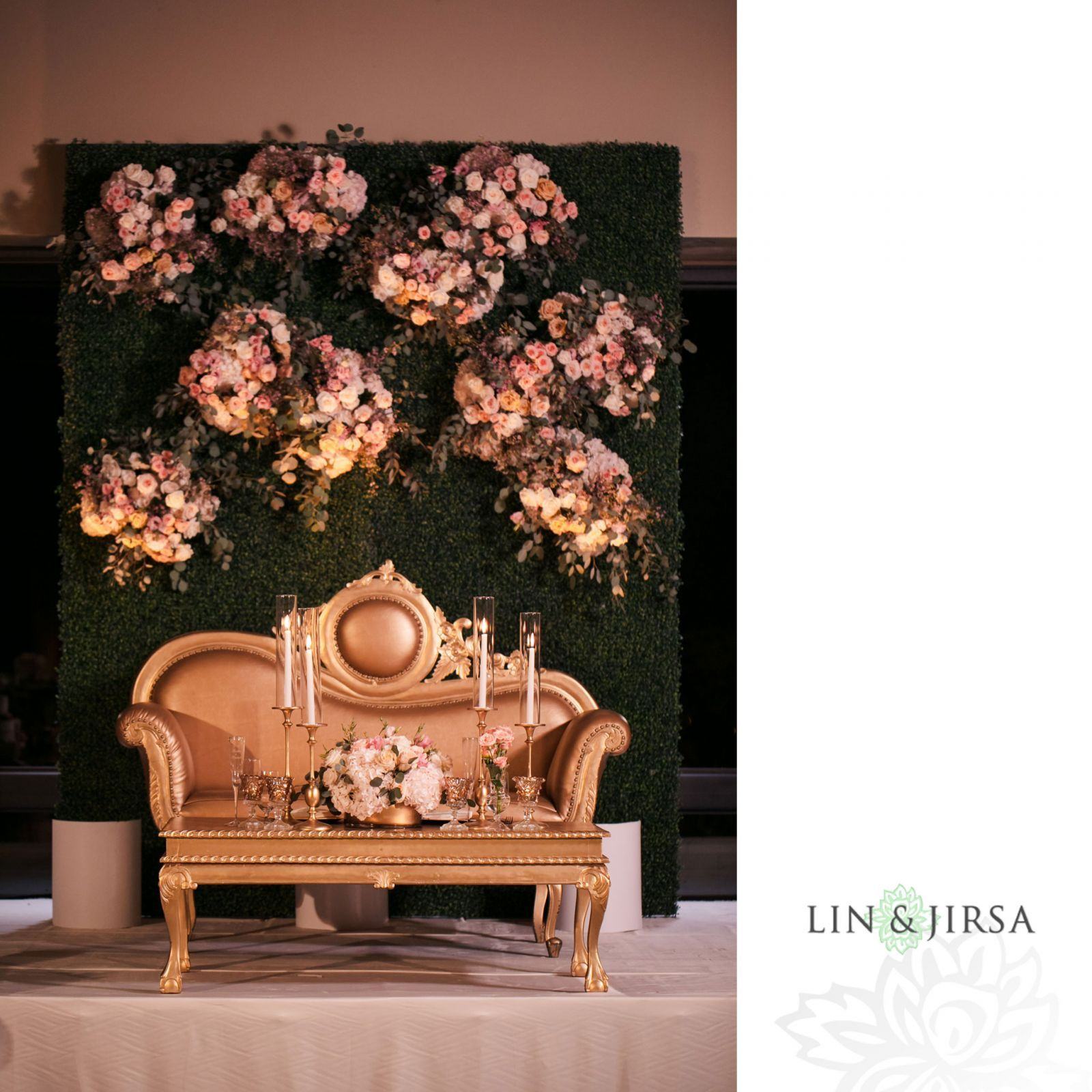 Gorgeous Sweetheart Stage With Garden Wall Florals. Design