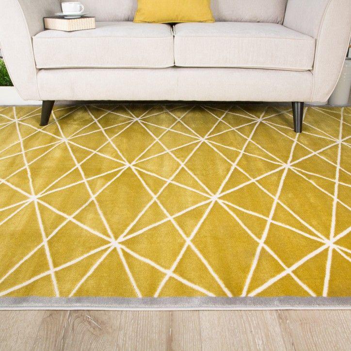 Modern Ochre Yellow & Grey Geometric Rug Geometric rug