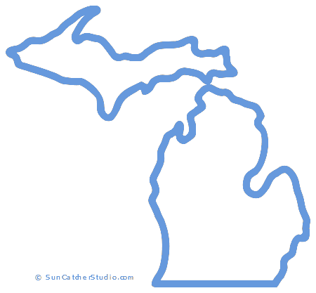 Michigan Map Outline Printable State Shape Stencil Pattern Map Of Michigan Michigan Outline Hummingbird Drawing