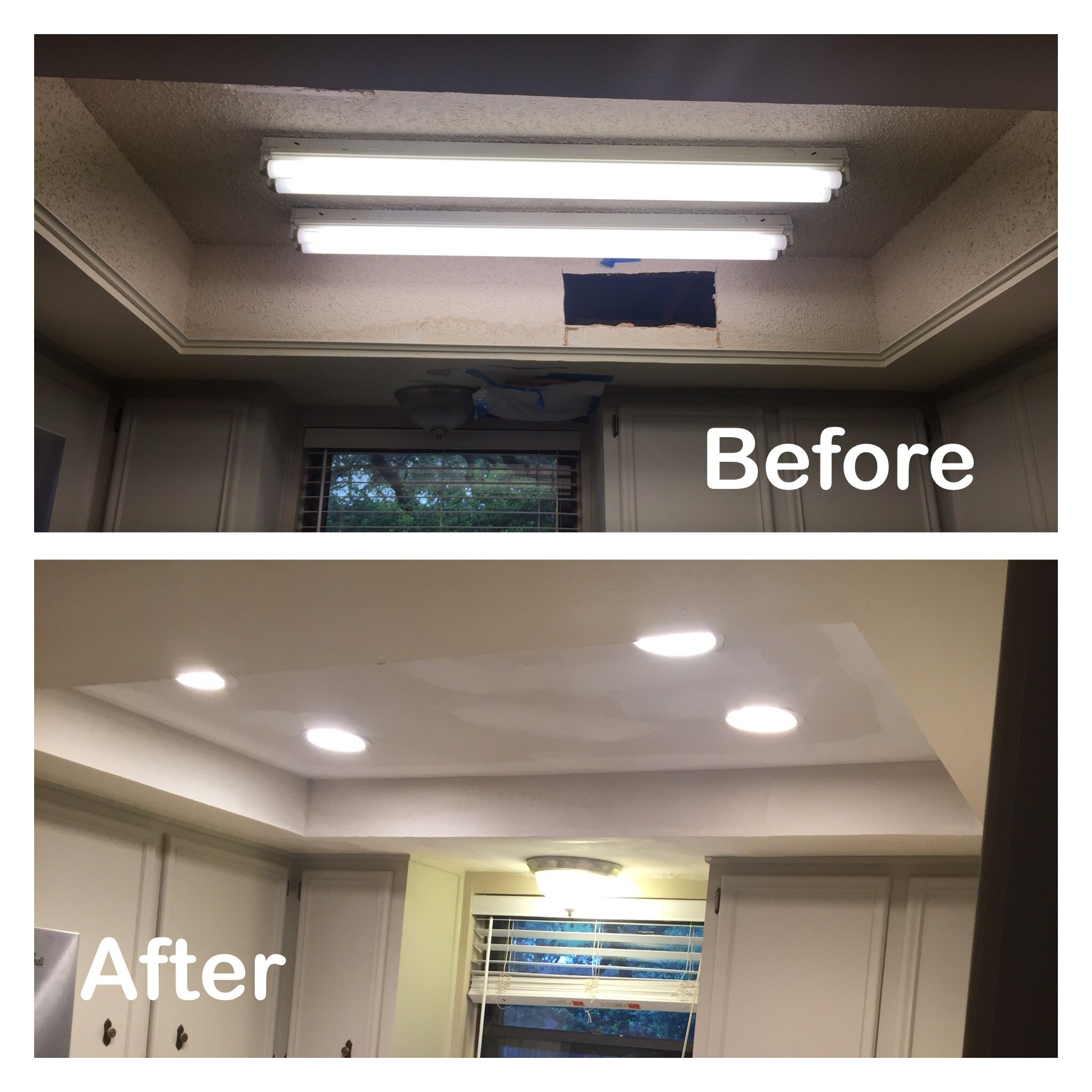 1970s kitchen light box before and after Fluorescent light ...