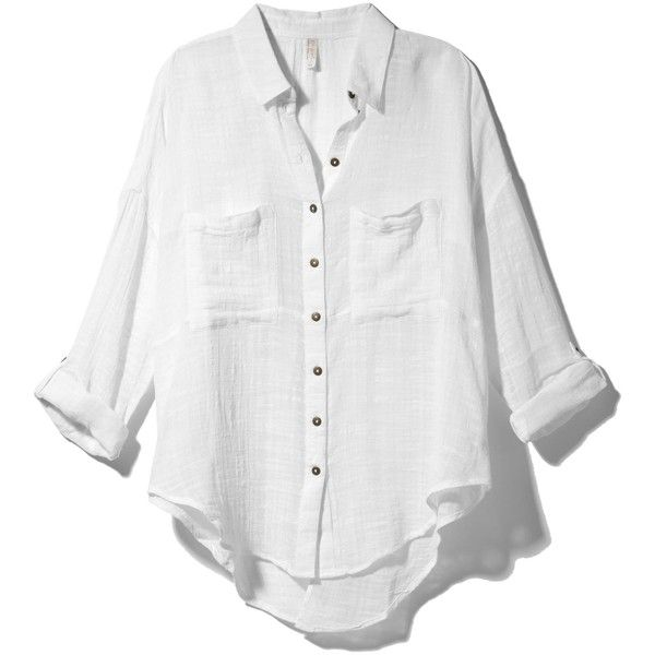 13d2bccc4 Free People Shibori Siren Buttondown Shirt ❤ liked on Polyvore featuring  tops, shirts, blouses, long sleeves, white, long sleeve button down shirts,  ...
