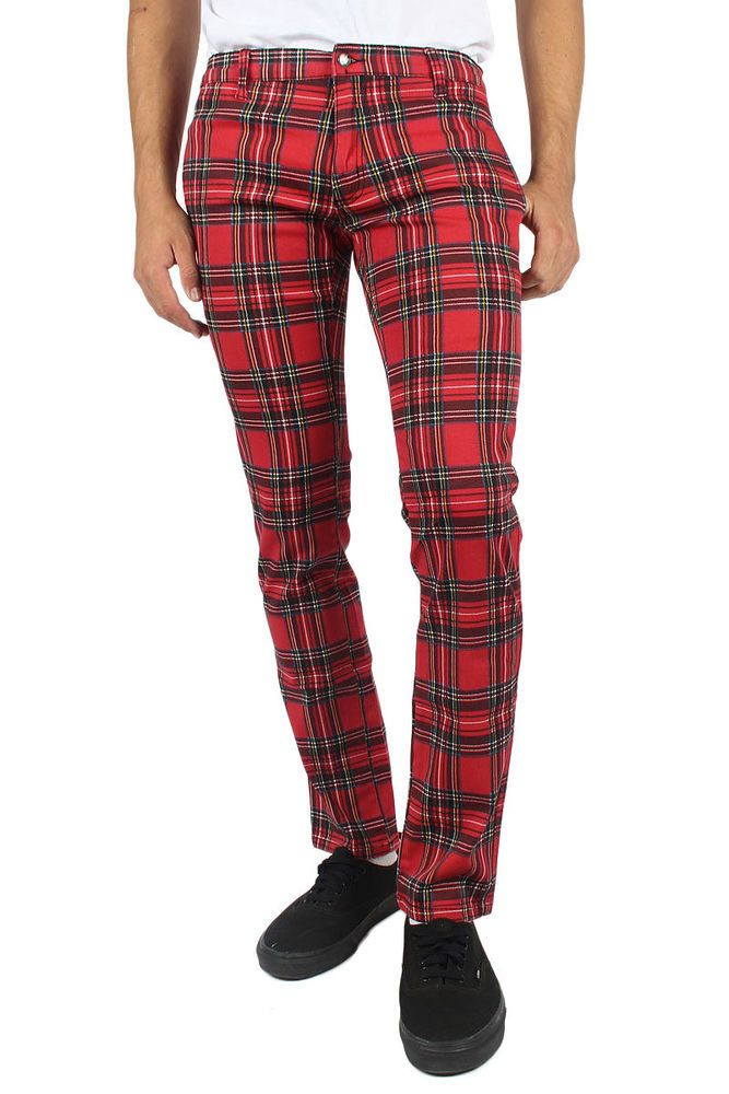 Tripp NYC - Mens Skinny Top Cat Pant In Red Plaid #TrippNYC #pantsskinny