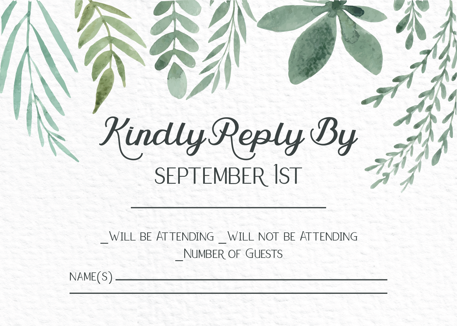 Watercolor greenery wedding reply card with matching wedding ...
