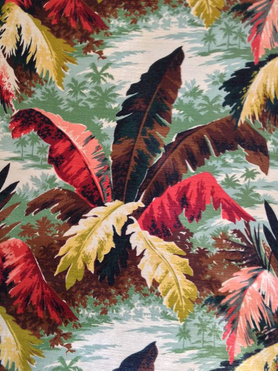 vintage tropical barkcloth upholstery weight remnant
