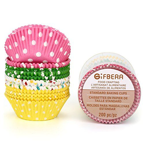 Gifbera Colorful Standard Size Paper Baking Cups Cupcake Liners
