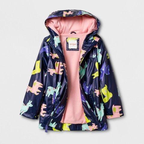 481ceb578 Cat & Jack Toddler Girls' Rain Jacket Llama Print   Products   Girls ...