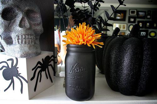 Cool mason jar spray painted matte black