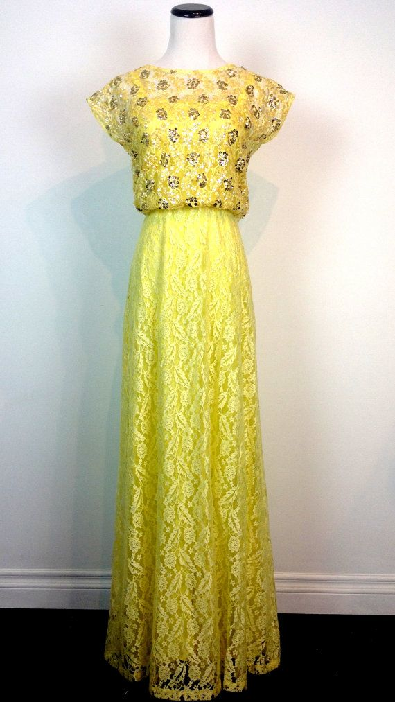 1a57983fcb2 Vintage 60s yellow lace sequin sparkly party wedding picnic pinup summer  prom maxi day dress skirt  109