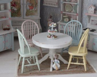 1//12 Móveis Casa De Bonecas Miniatura Cadeira Mesa De Jantar Sala Jardim Acessório