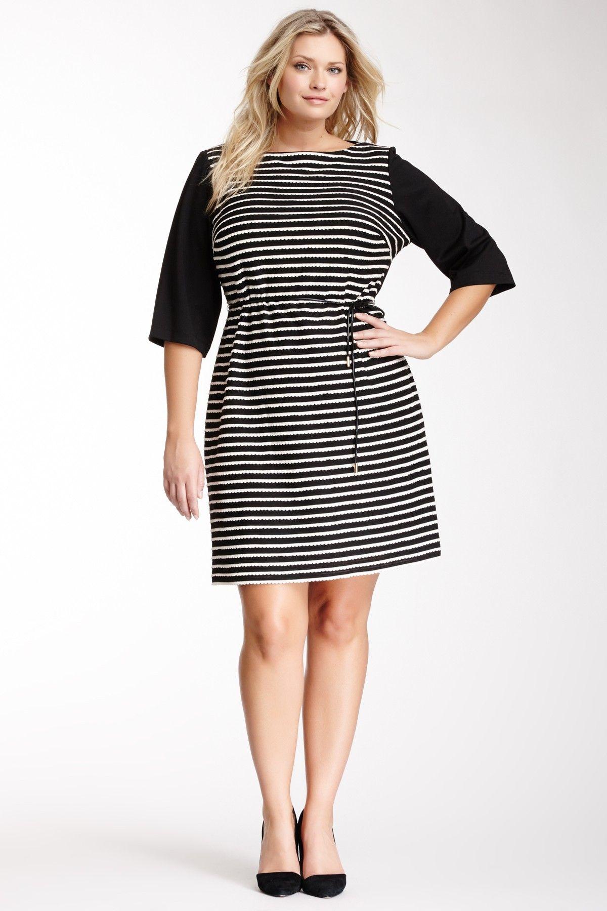 Scalloped Trim Belted Dress - Plus Size   Full figured, Dream ...