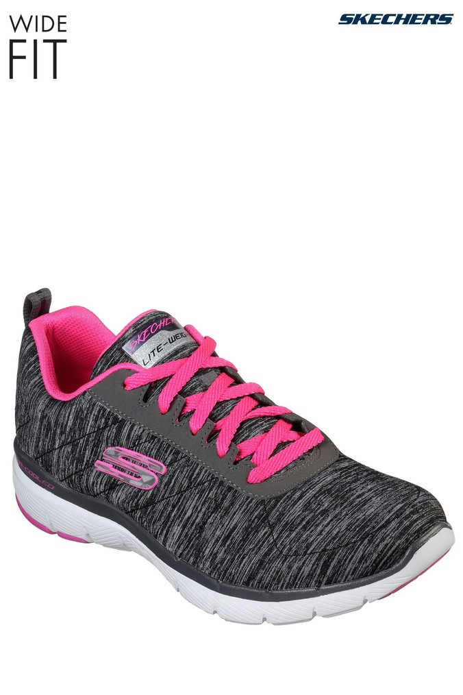 Womens Skechers Wide Fit Grey Flex Appeal 3 0 Trainer Grey With