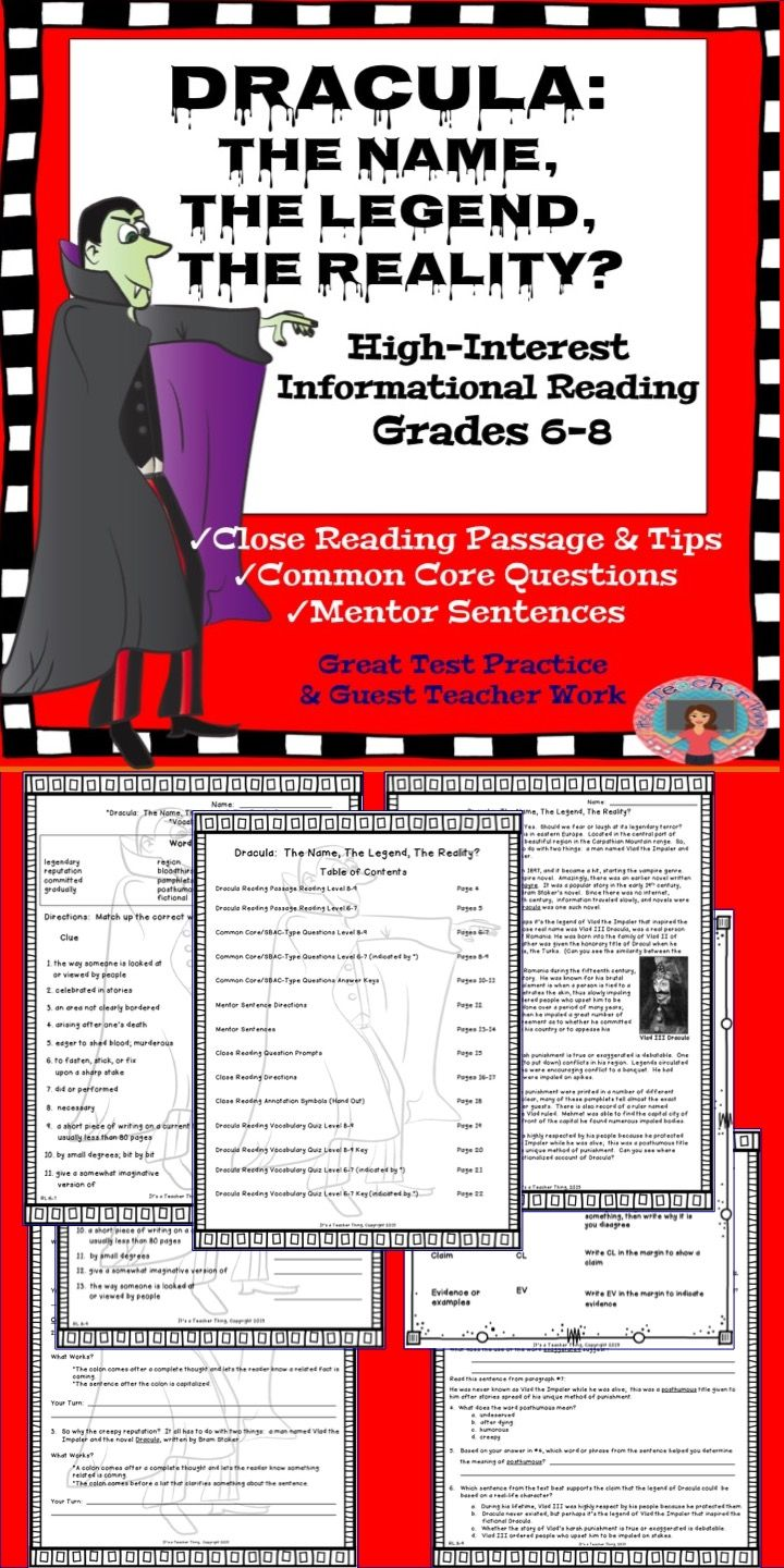 Reading Comprehension Passage And Questions Dracula Mentor Sentences Close Reading Strategies Reading Comprehension Passages