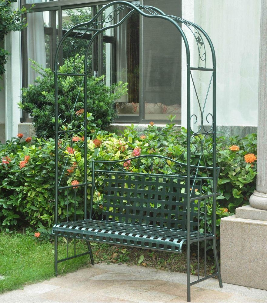 Metal Garden Arbor Bench Wrought Iron Trellis Green Patio Outdoor