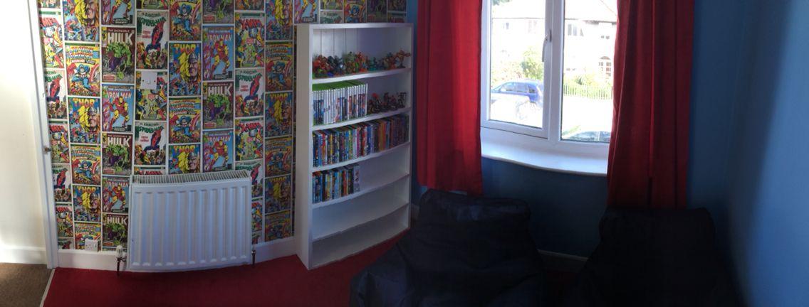Boys games room marvel wallpaper from homebase and bean