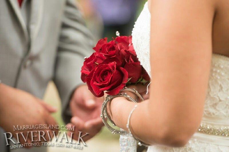 Reaching out for his bride. All Inclusive San Antonio Riverwalk Weddings www.MarriageIsland.com  (210) 667-6503.