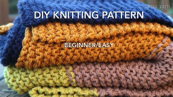 Diy Knitting Pattern Easy Beginner Chunky Blanket 5 Color Knit