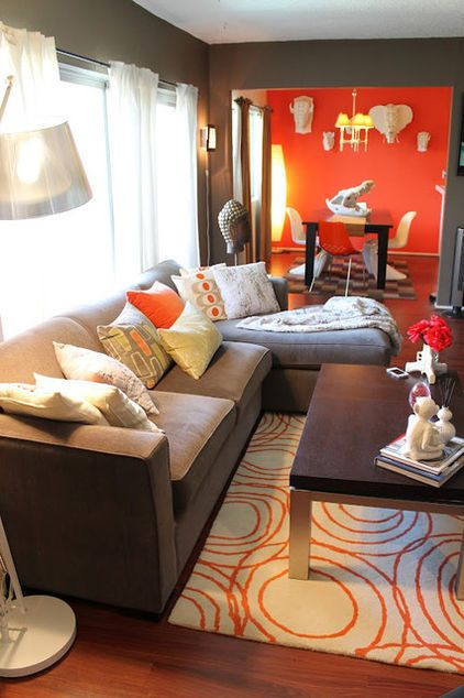Deep Grey Living Room Walls Orange Accent Wall In The The Kitchen Instead Of Dining Room