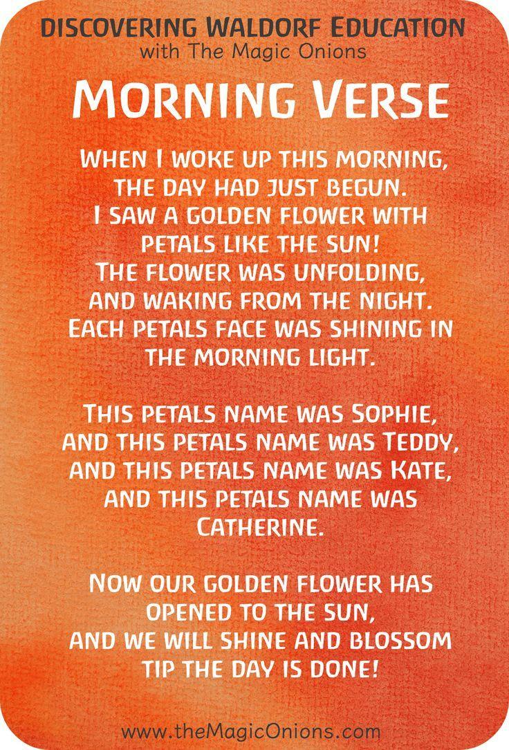 Favorite Waldorf Morning Circle Verses for Kindergarten | Pinterest