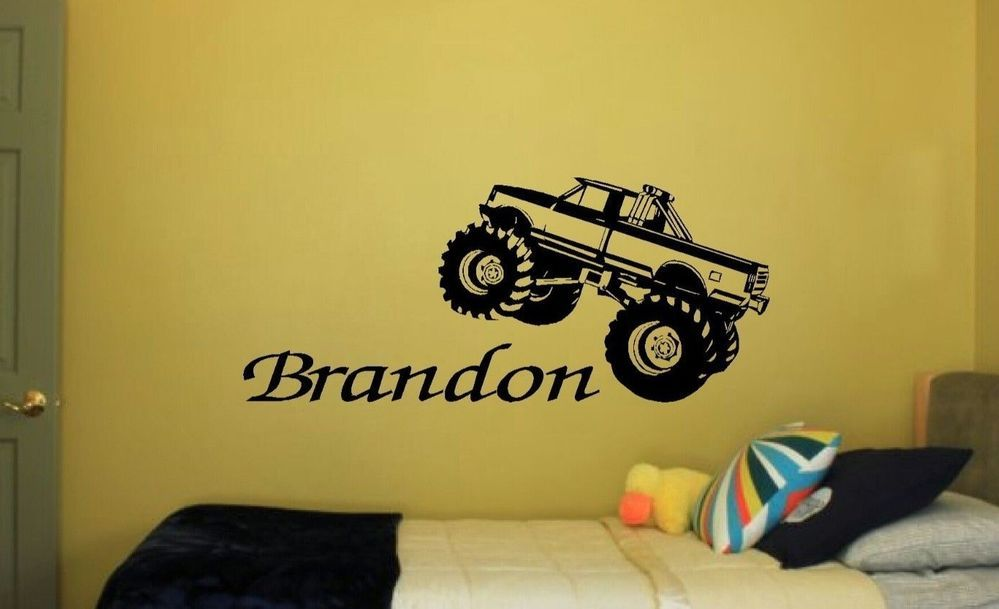 Monster Truck Boys Bedroom Nursery Kids Wall Art Decor Decal HUGE 24 ...
