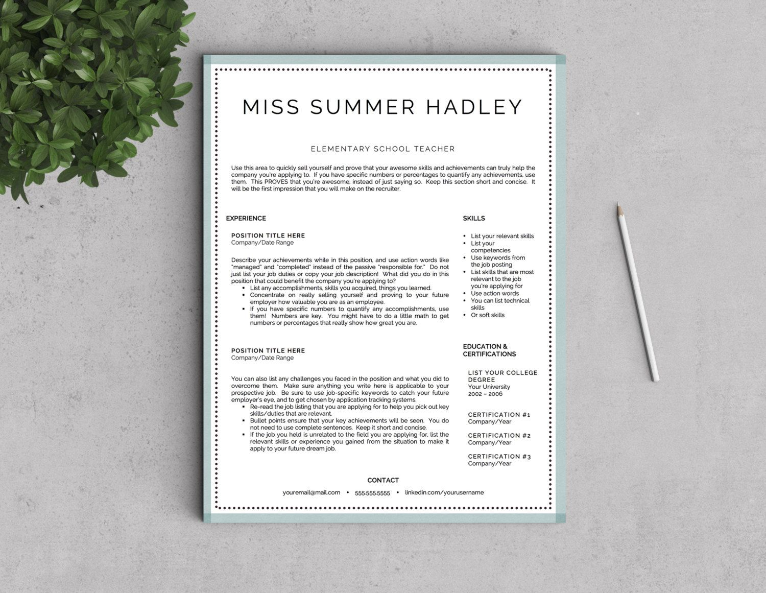 Teacher Resume Template for Word and Pages by LandedDesignStudio ...