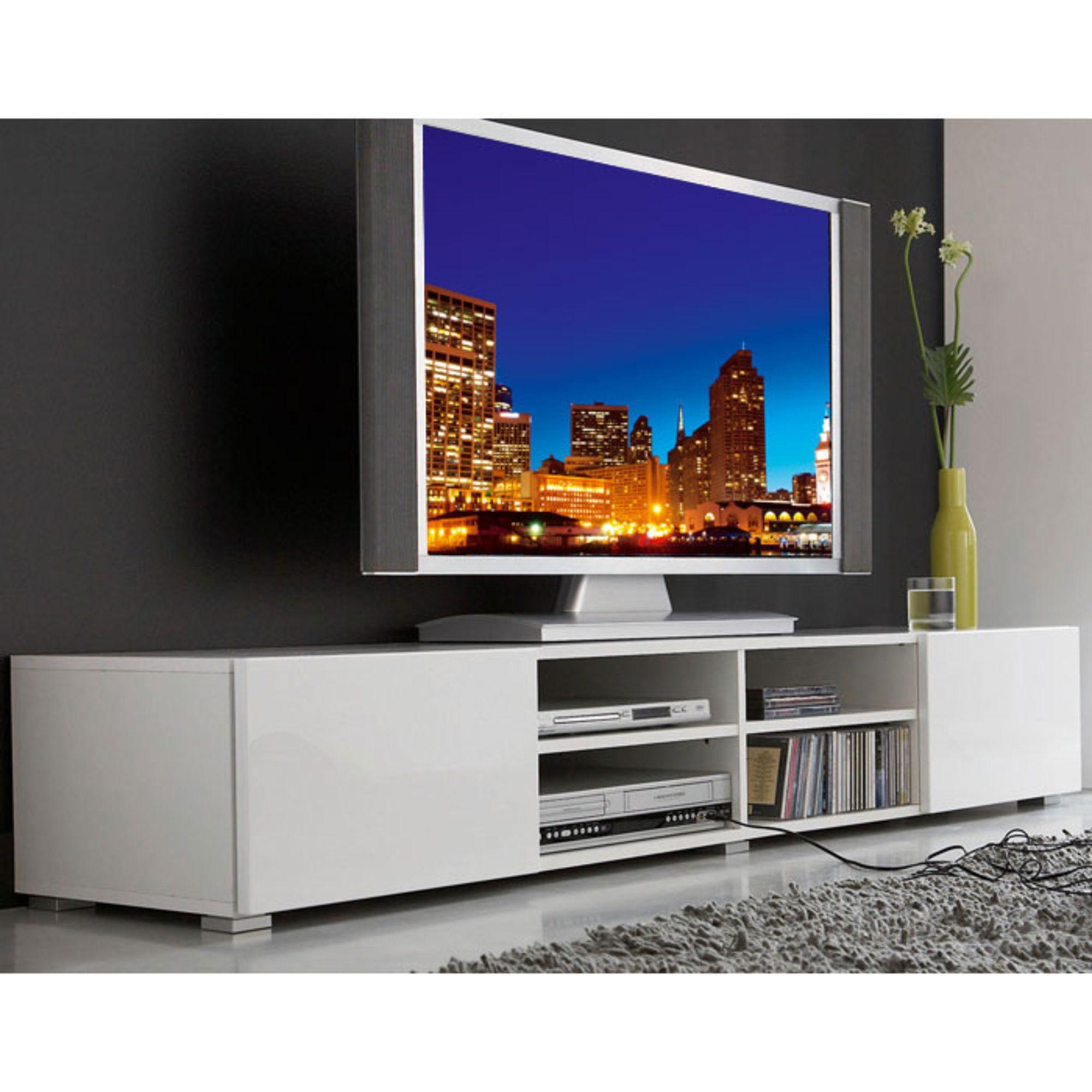 Meuble Tv 4 Niches 2 Tiroirs Magnus Blanc Prix Promo La Maison  # Promotion Meuble Tv