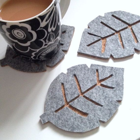 extraordinary inspiration drink coaster. Scandinavian Grey Felt Leaf Drink Coasters by ToTheCavern on Etsy