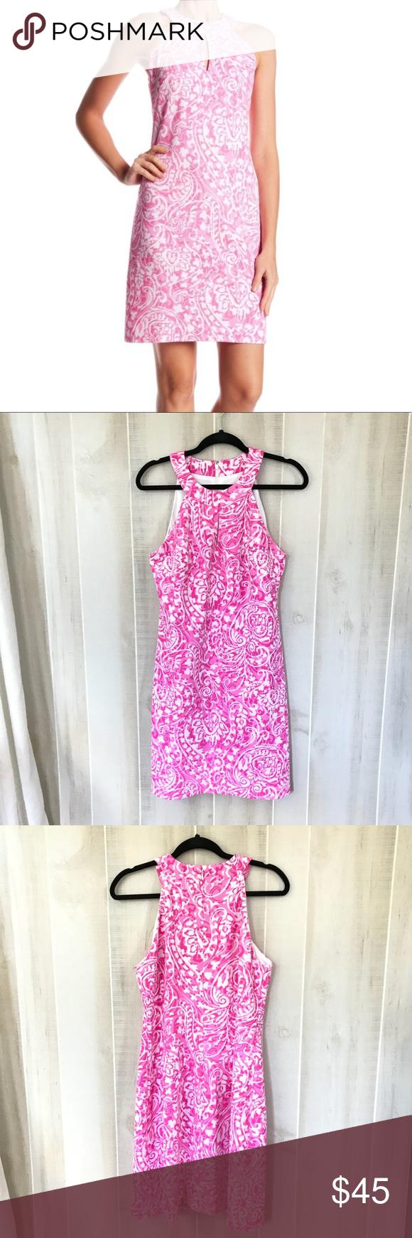 Vince Camuto Pink White Shift Dress White Shift Dresses Shift Dress Dresses [ 1740 x 580 Pixel ]
