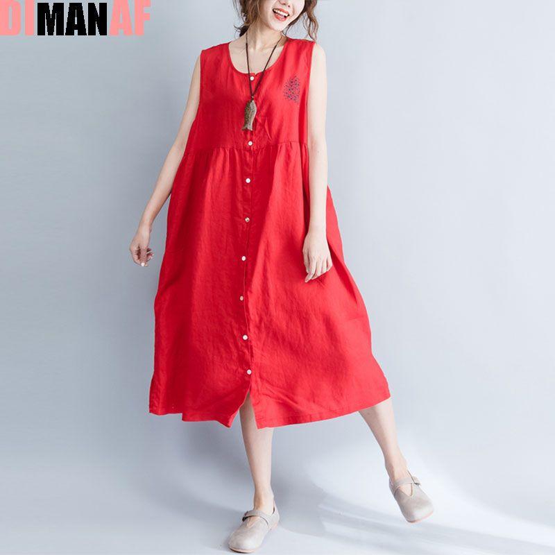 a10dbeac52 DIMANAF Summer Style Dress Plus Size Women Linen Sundress Solid Sleeveless  Vest Cardigan Female Sexy Red Long New Beach Dresses