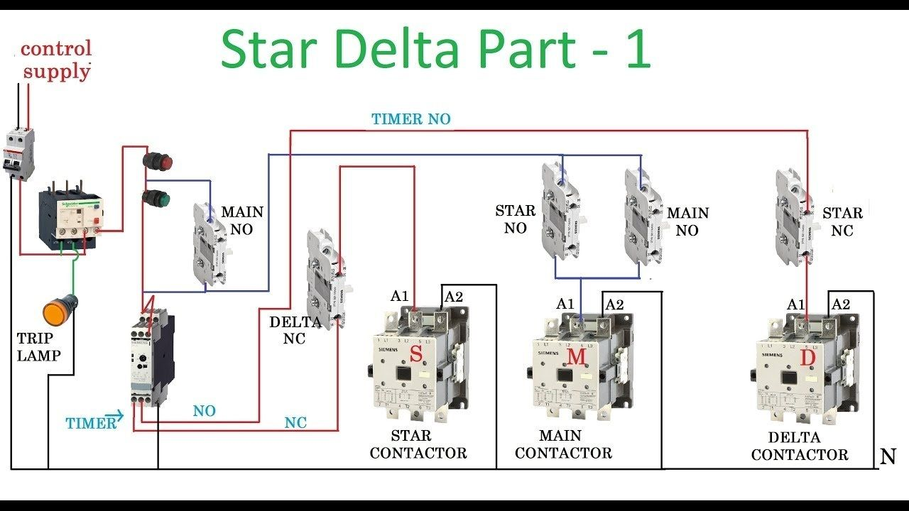 star delta starter motor control with circuit diagram in hindi intended for starter circuit diagram 7454 [ 1280 x 720 Pixel ]