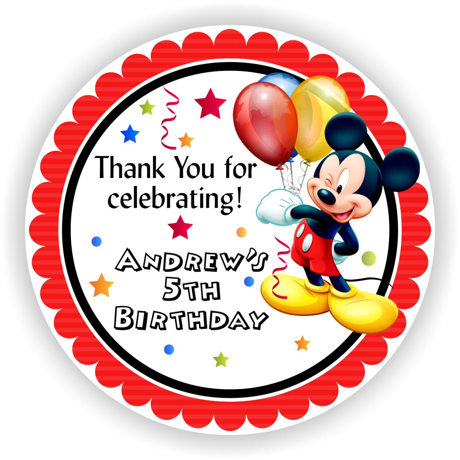 Printable Personalized Birthday Party Stickers for Goody Bags ...