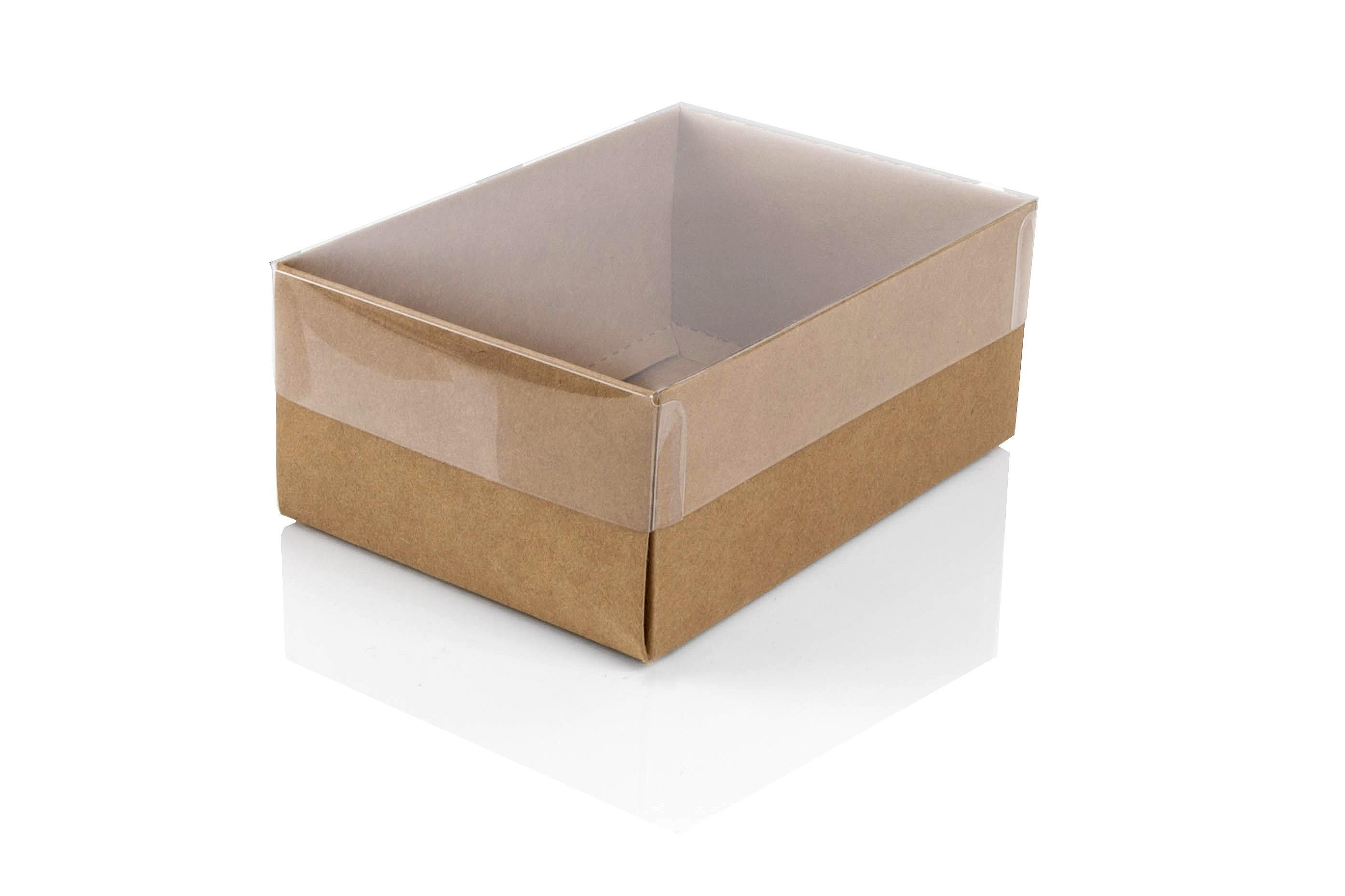 Small kraft flat packed recycled gift box with clear lid for Small cardboard jewelry boxes with lids