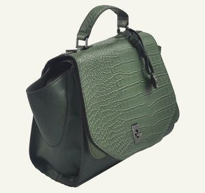 'Nova' Designer Inspired Women's Forest Green Croc Satchel Bag