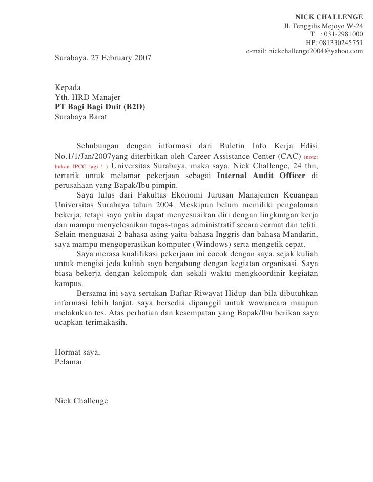 Contoh Surat Lamaran Kerja Audit Officer Surat Guru Sma