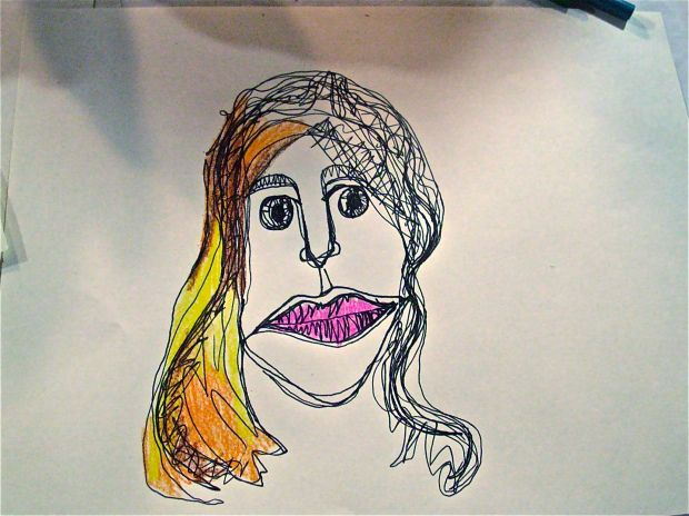 Line Drawing Of Child S Face : Continuous line drawing with color art