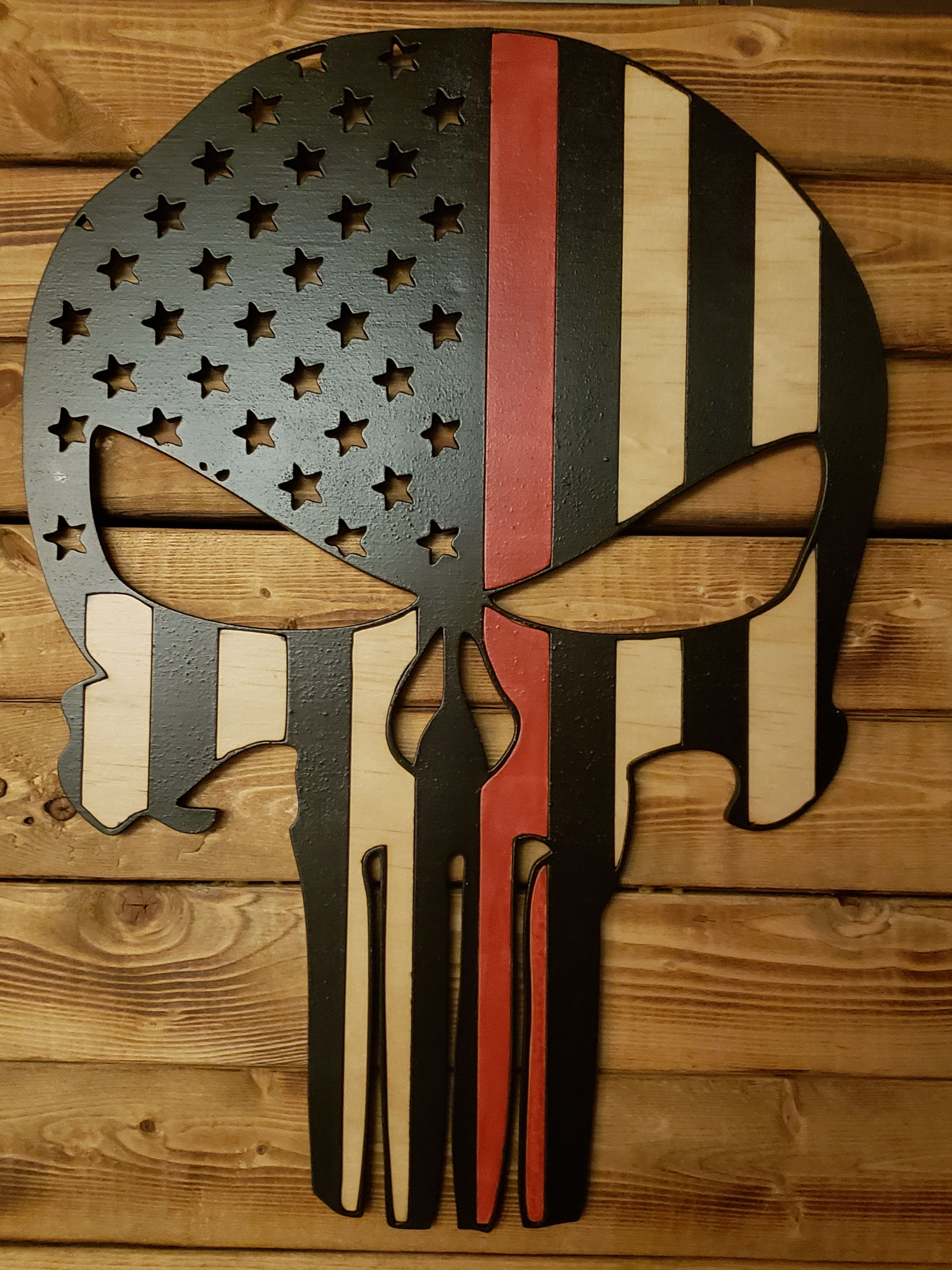 Punisher Flag with Red Line | FIREFIGHTER GIFTS | Blue line