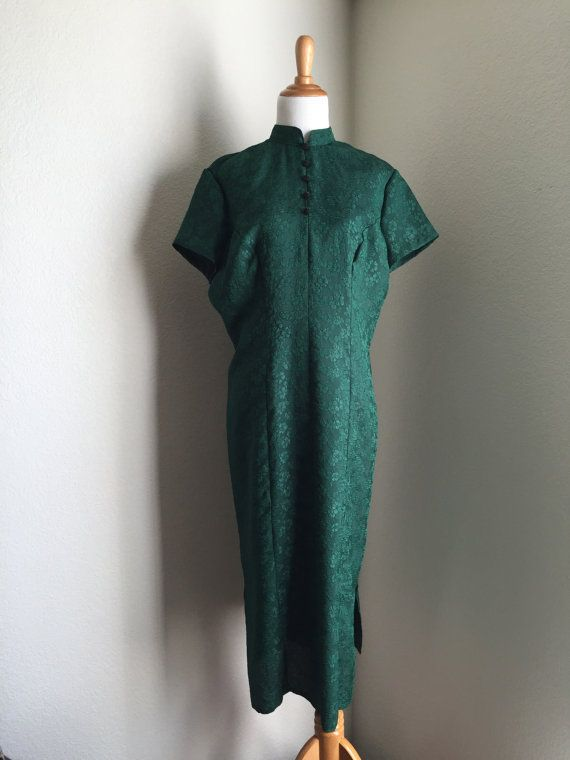 Emerald Floral Green Asian Midi Dress Decorative by Infrequenties