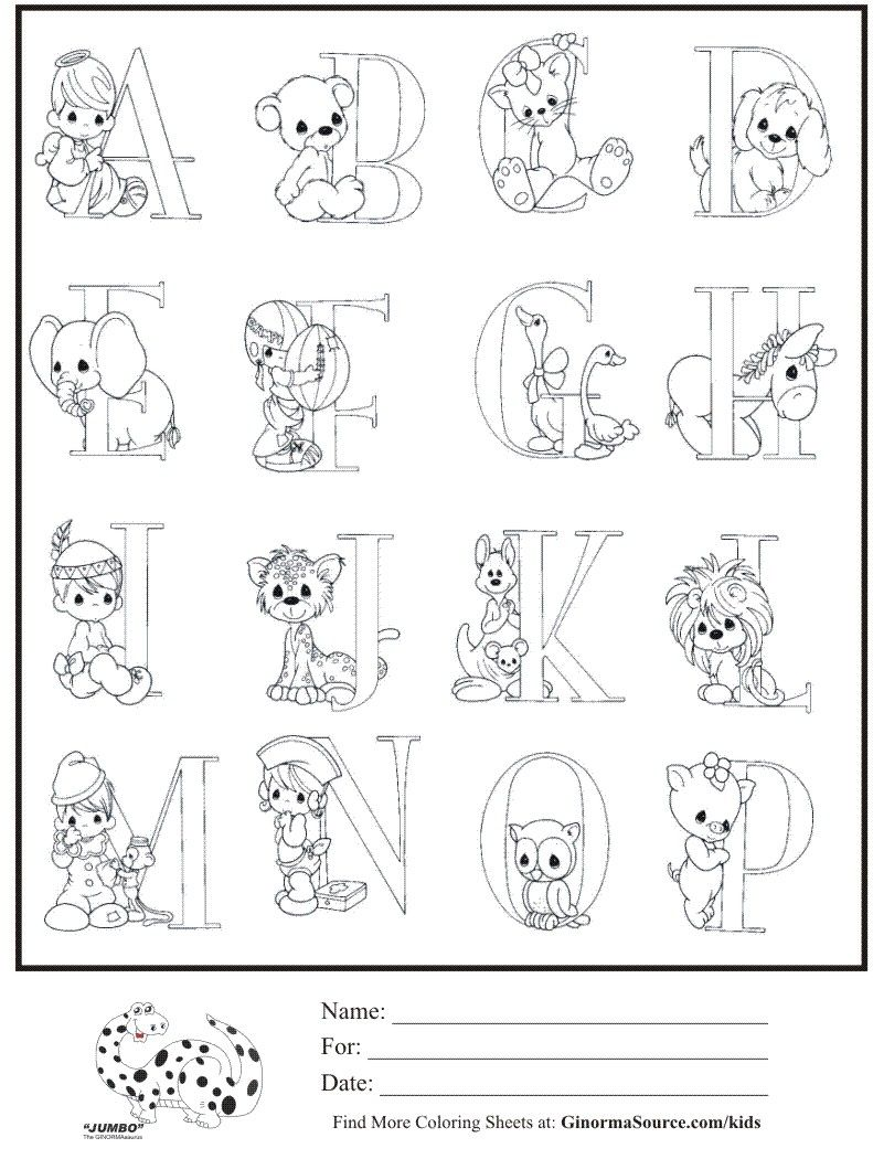 kids coloring page precious moments alphabet part 1