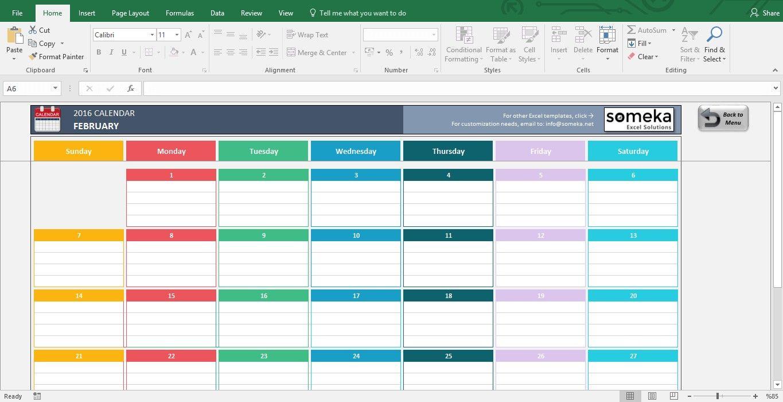 Printable Excel Calendar
