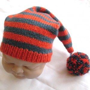 Merino Wool pixie hat, teal and orange £19.99