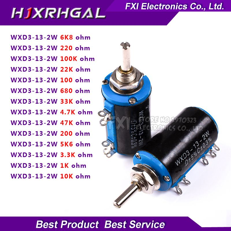 2 Sztuk Wxd3 13series 100 200 220 680 1 K 2 2 K 3 3 K 4 7 K 5 6 K 6 8 K 10 K 22 K 33 K 47 K 100 K Ohm Wxd3 13 2w Drutowe Potencjometr With Images Components Passive