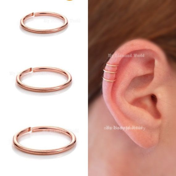 6mm Rose Gold Cartilage Earring Helix Ring Hoop SeptumNose