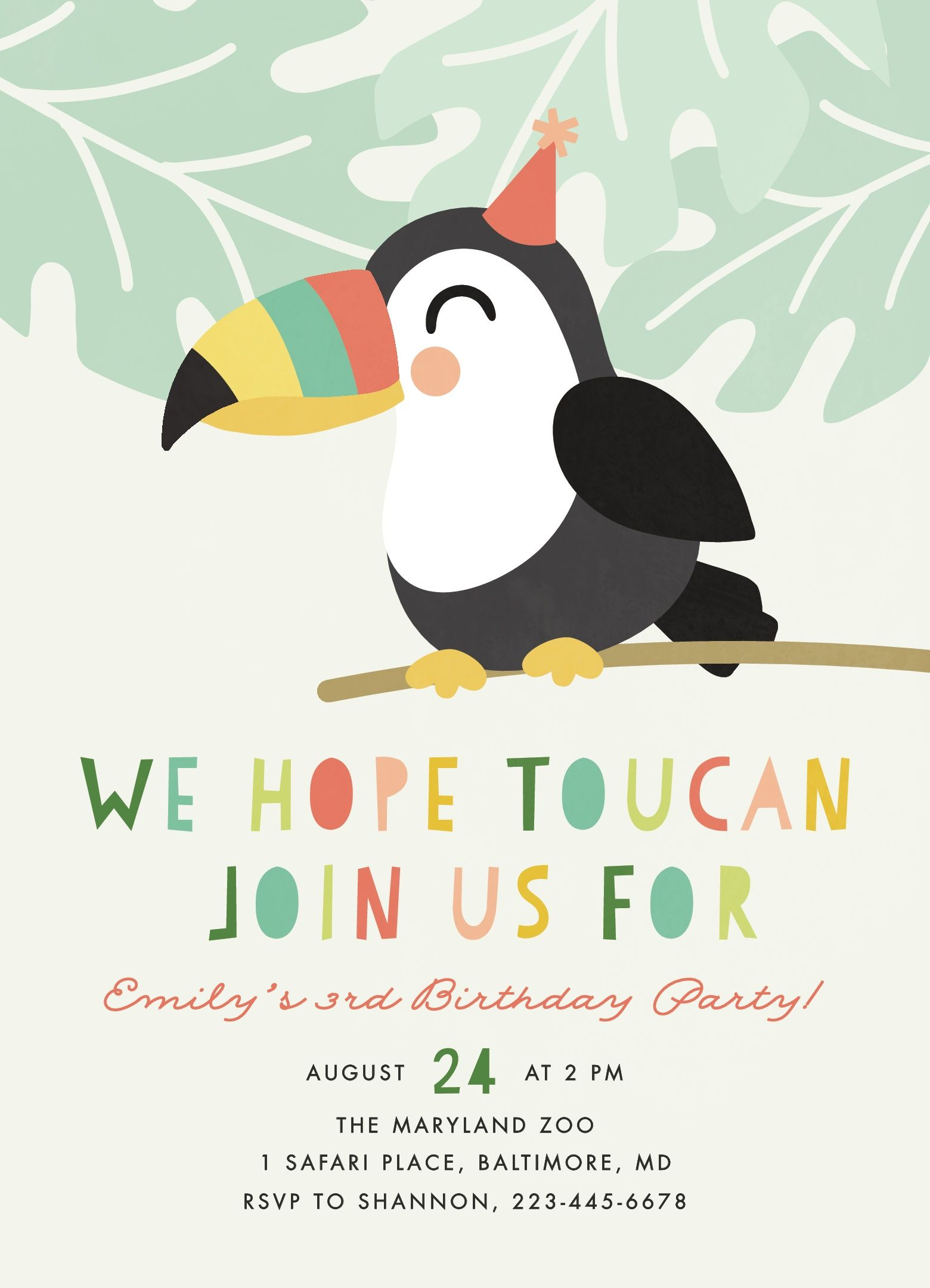 Toucan Children's Birthday Party Invitations #tropicalbirthdayparty