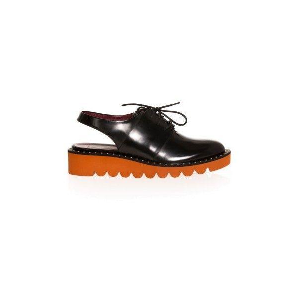 Stella Mccartney Odette Slingback Brogues ($791) ❤ liked on Polyvore featuring shoes, oxfords, обувь, black, platform oxford shoes, black flatforms, black slingback, black lace up oxfords and platform shoes