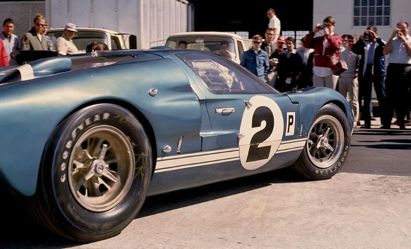 the dan gurney jerry grant shelby ford gt40 mk ii in the paddock prior
